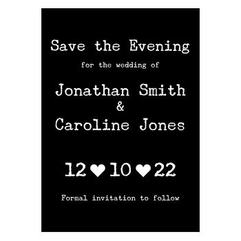 Black with White Ink Rustic Typewriter Save the Evening Cards