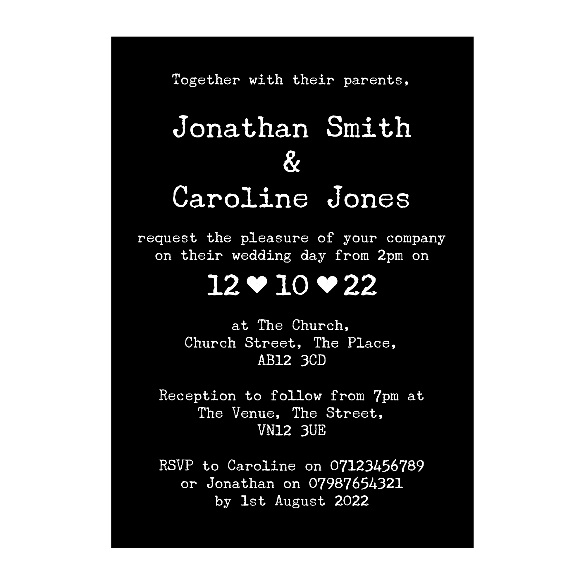 Black with White Ink Rustic Typewriter Wedding Invitations