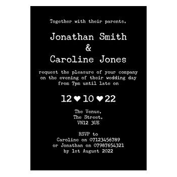 Black with White Ink Rustic Typewriter Reception Invitations