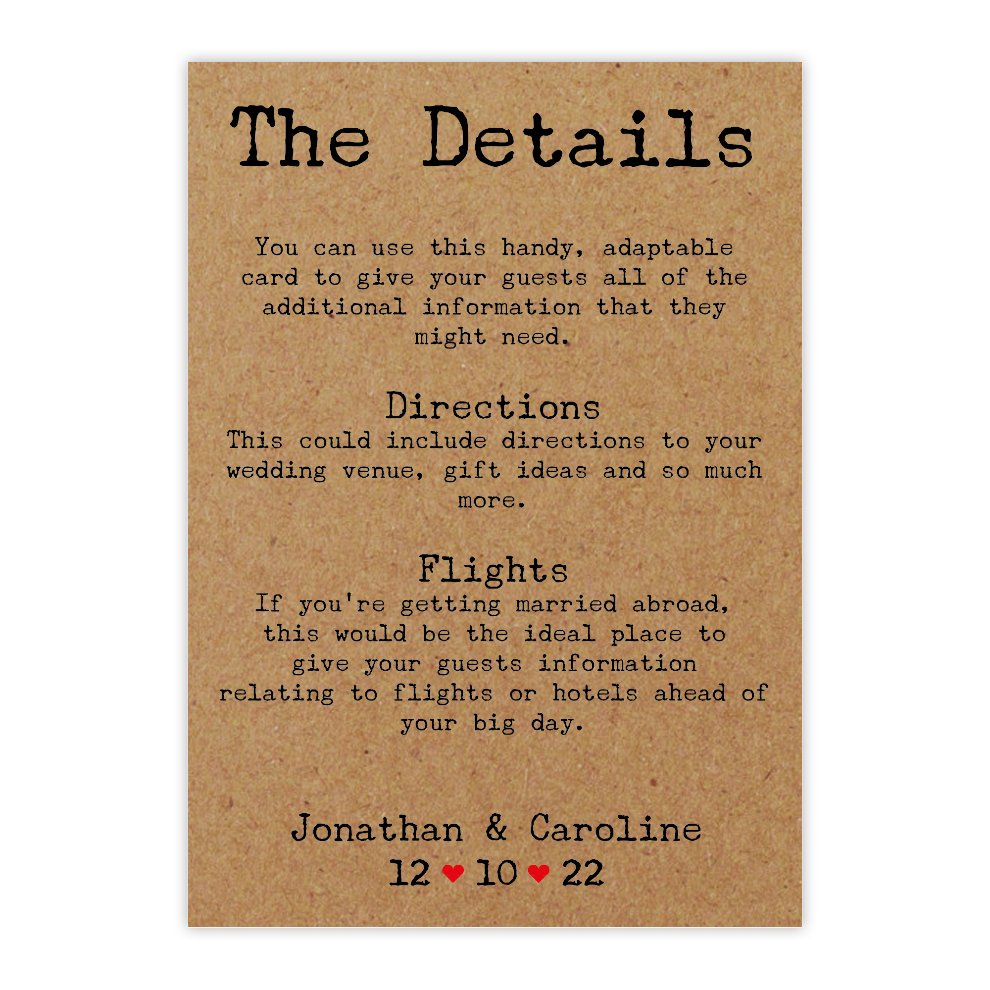 Recycled Brown Kraft Typewriter Guest Information Cards