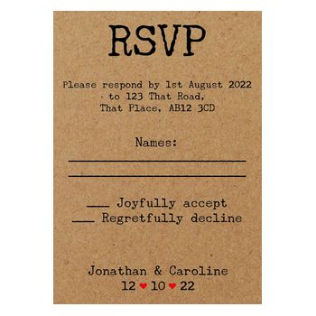 Recycled Brown Kraft Typewriter Wedding RSVP Cards
