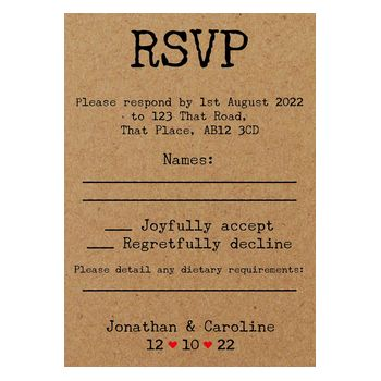 Recycled Brown Kraft Typewriter Wedding RSVP Diet Cards