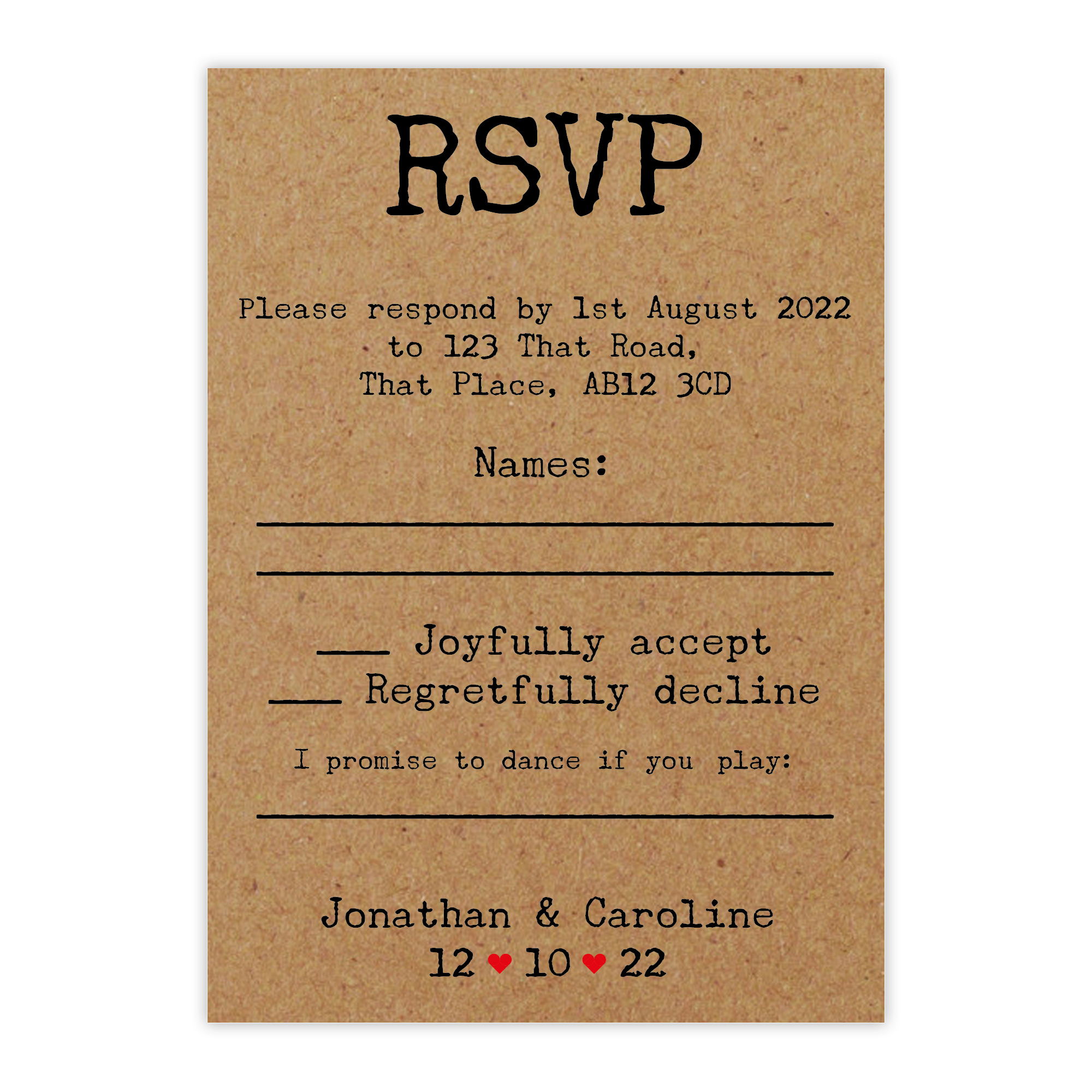Recycled Brown Kraft Typewriter Wedding RSVP Song Request Cards