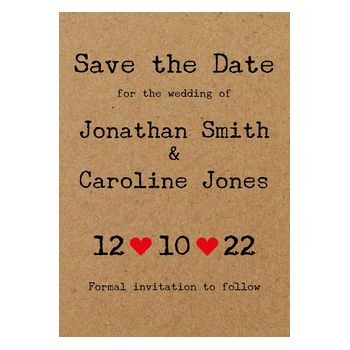 Recycled Brown Kraft Typewriter Save the Date Cards