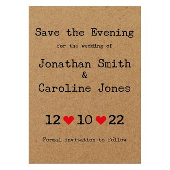 Recycled Brown Kraft Typewriter Save the Evening Cards