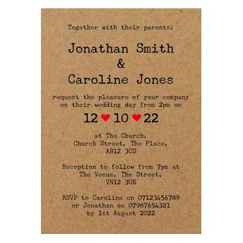 Recycled Brown Kraft Rustic Typewriter Wedding Invitations