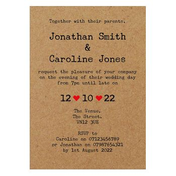 Recycled Brown Kraft Rustic Typewriter Reception Invitations