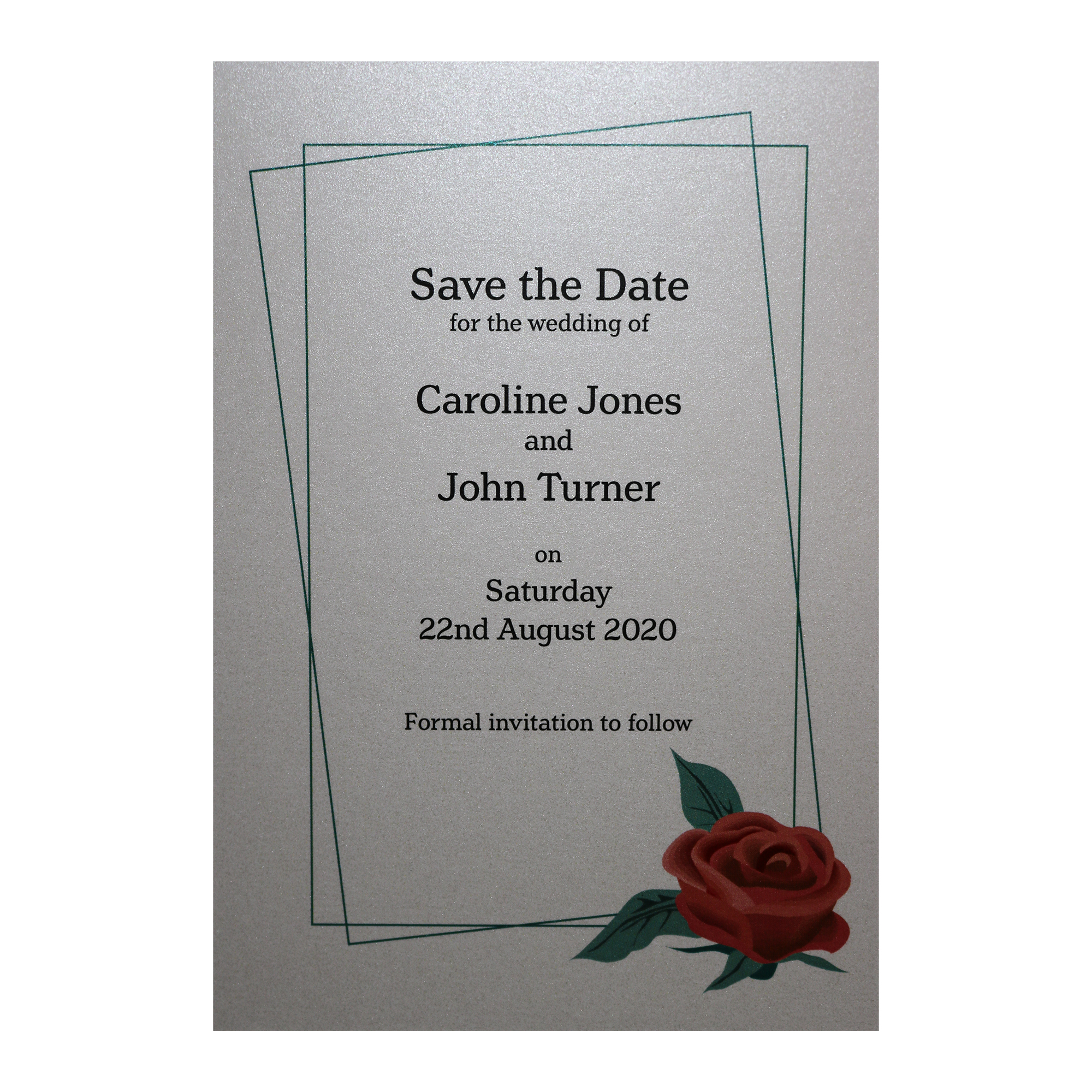 Glitter Arctic White Red Rose Save the Date Cards