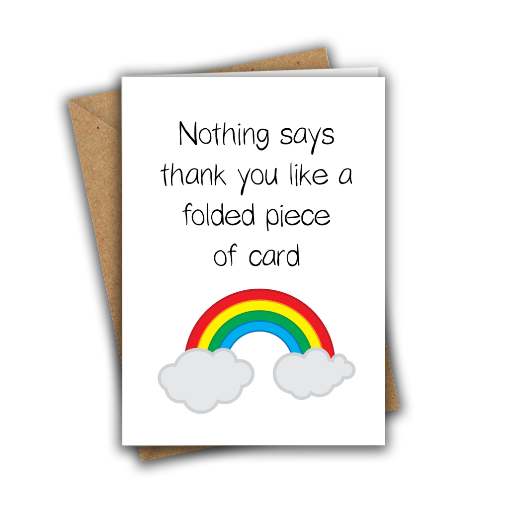 Nothing Says Thank You Rainbow Paper Hug Sweet Cute A5 Greeting Card
