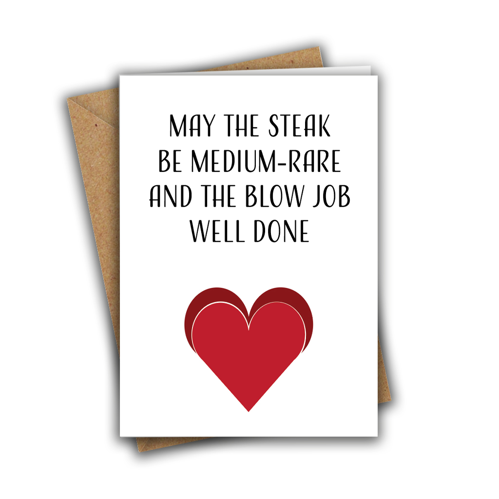 May The Steak Be Medium Rare Happy Steak & Blow Job Day Recycled Greeting Card