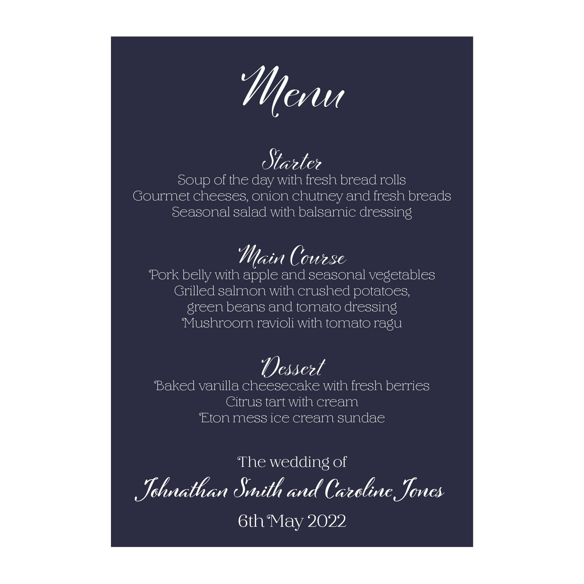Navy Blue with White Ink Funny Shit Just Got Real Menu Cards