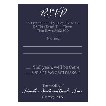 Navy Blue with White Ink Funny Shit Just Got Real RSVP Cards