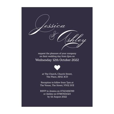 Navy Blue with White Ink Classic Swirl Decorative Wedding Invitations