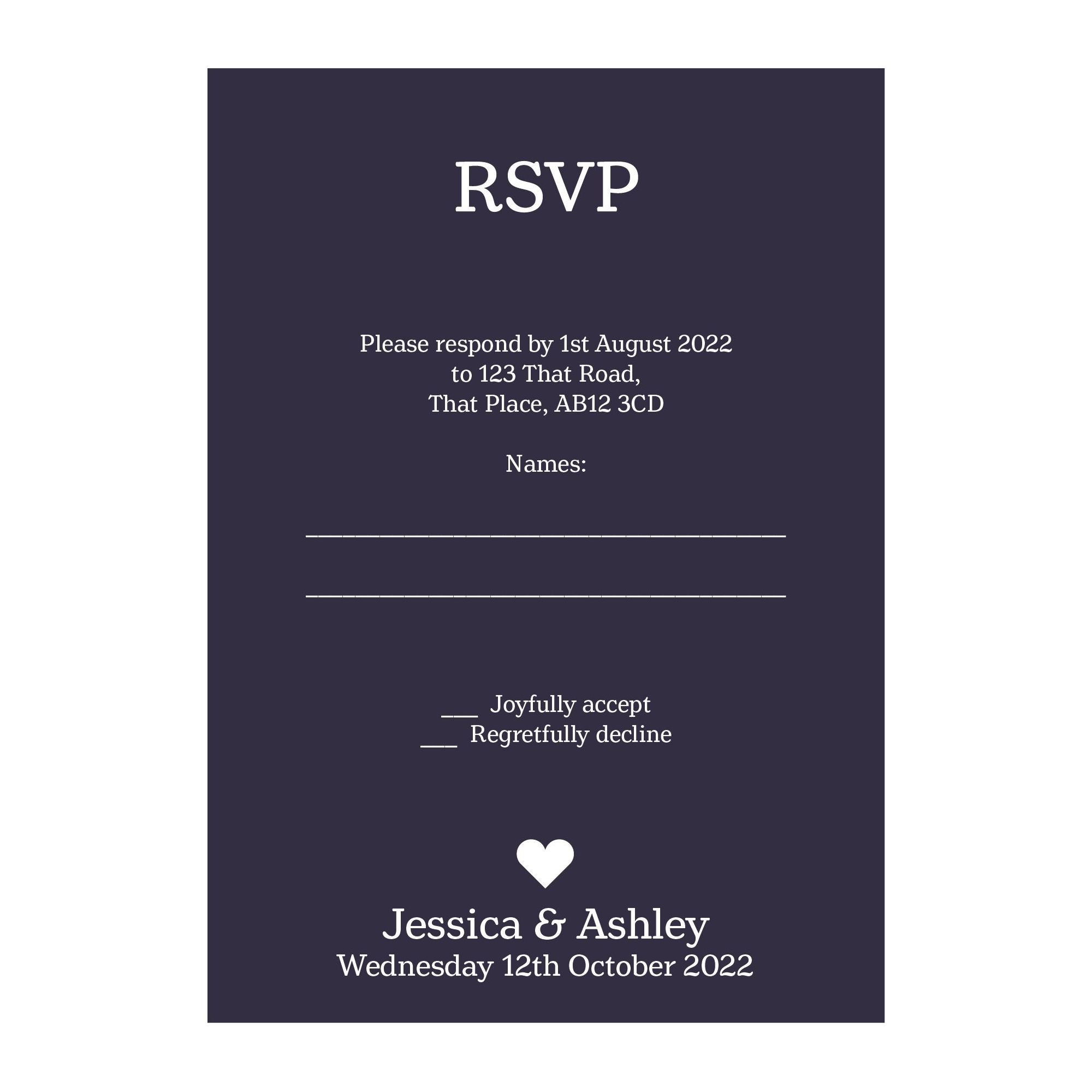 Navy Blue with White Ink Classic Swirl Decorative RSVP Cards