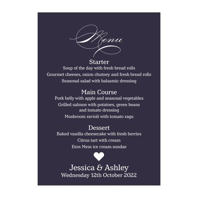 Navy Blue with White Ink Classic Swirl Decorative Menu Cards