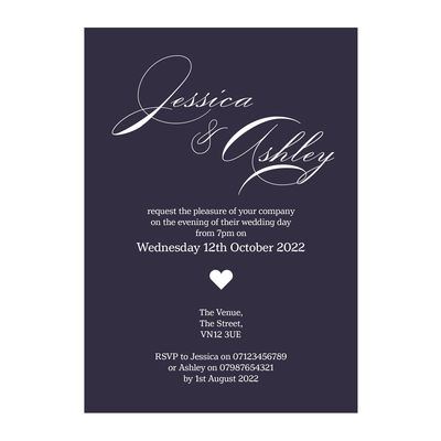 Navy Blue with White Ink Classic Swirl Decorative Reception Invitations