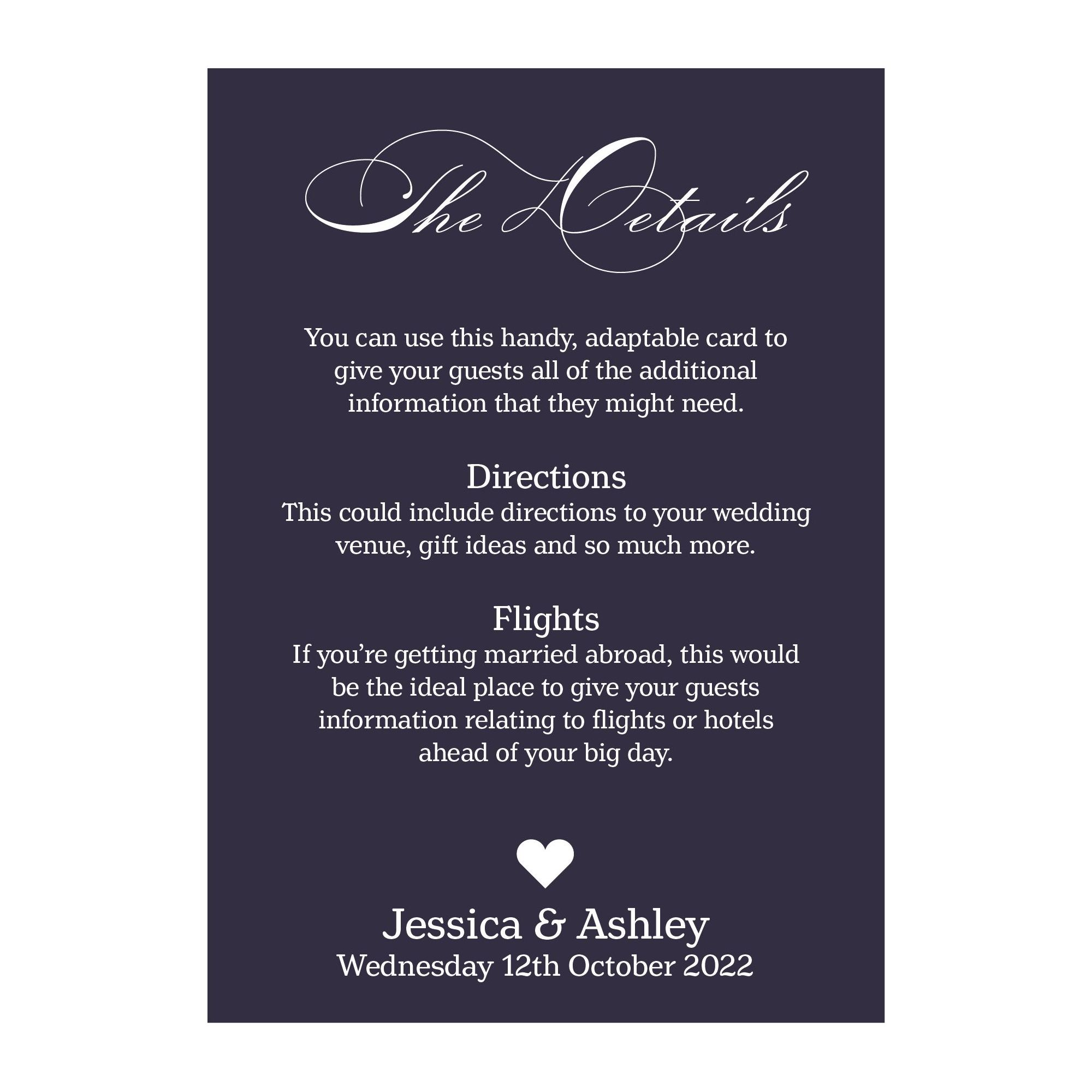 Navy Blue with White Ink Classic Swirl Decorative Guest Information Cards