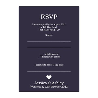 Navy Blue with White Ink Classic Swirl Decorative Song RSVP Cards