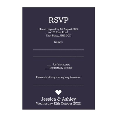 Navy Blue with White Ink Classic Swirl Decorative Diet RSVP Cards