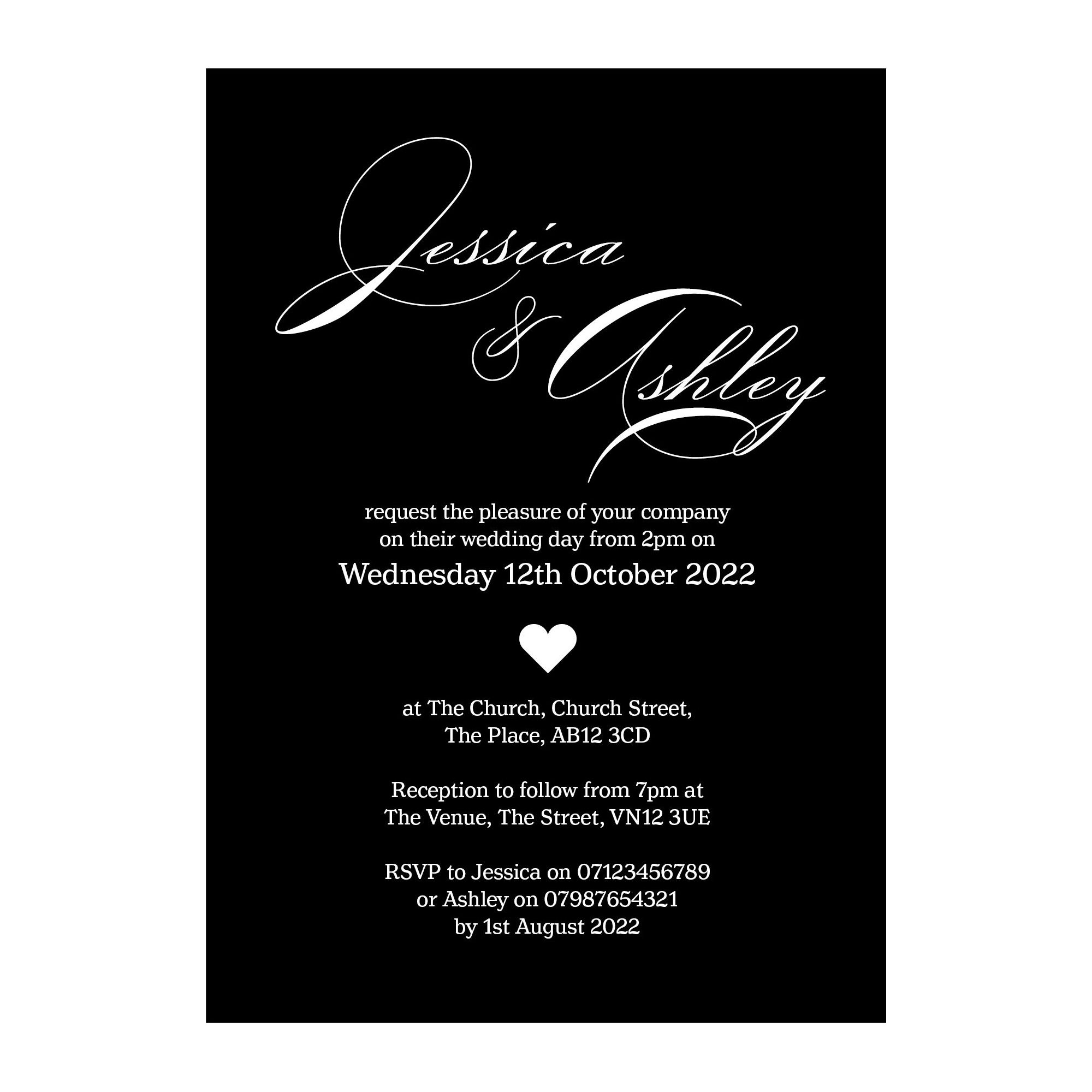 Black with White Ink Classic Swirl Decorative Wedding Invitations