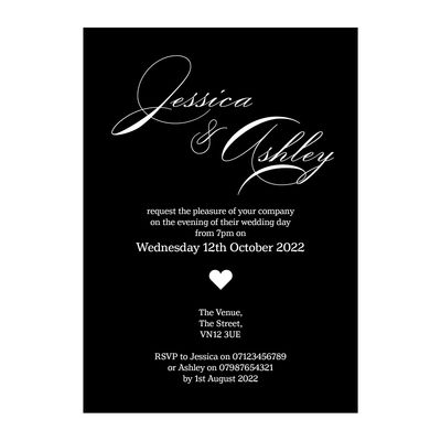 Black with White Ink Classic Swirl Decorative Reception Invitations