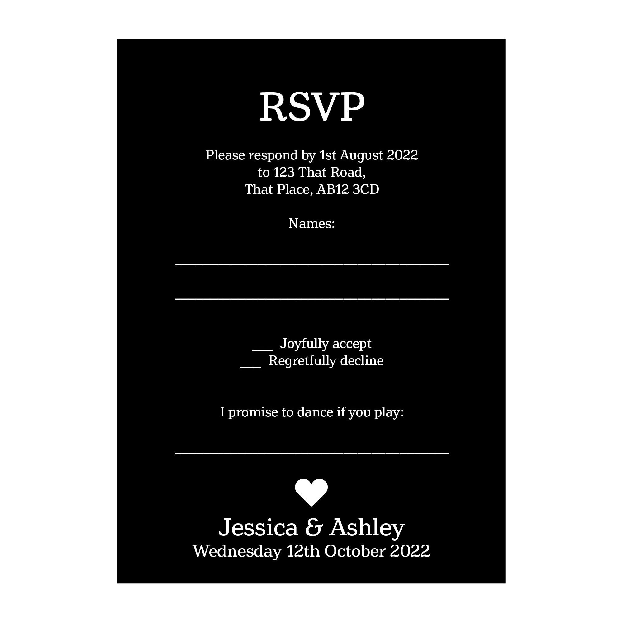 Black with White Ink Classic Swirl Decorative Song RSVP Cards