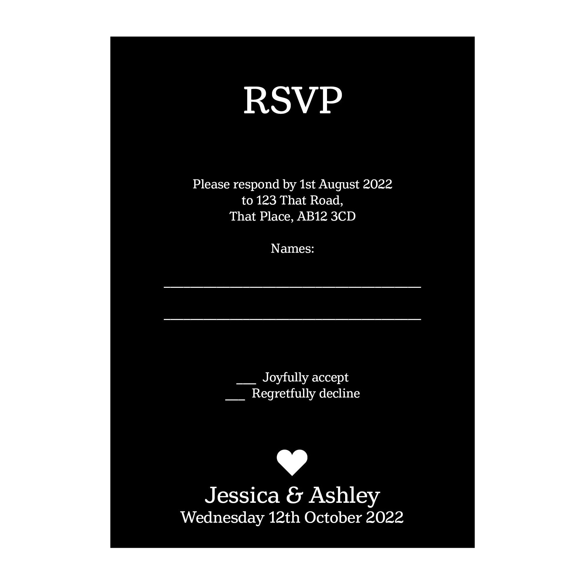 Black with White Ink Classic Swirl Decorative RSVP Cards