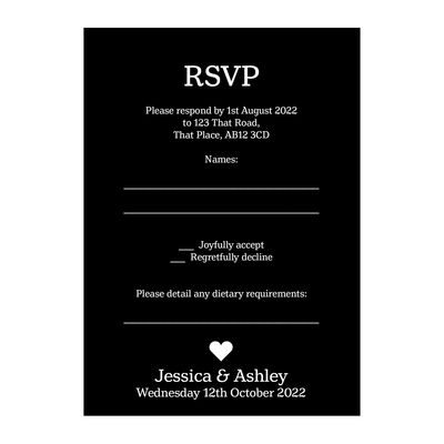 Black with White Ink Classic Swirl Decorative Diet RSVP Cards