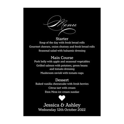 Black with White Ink Classic Swirl Decorative Menu Cards