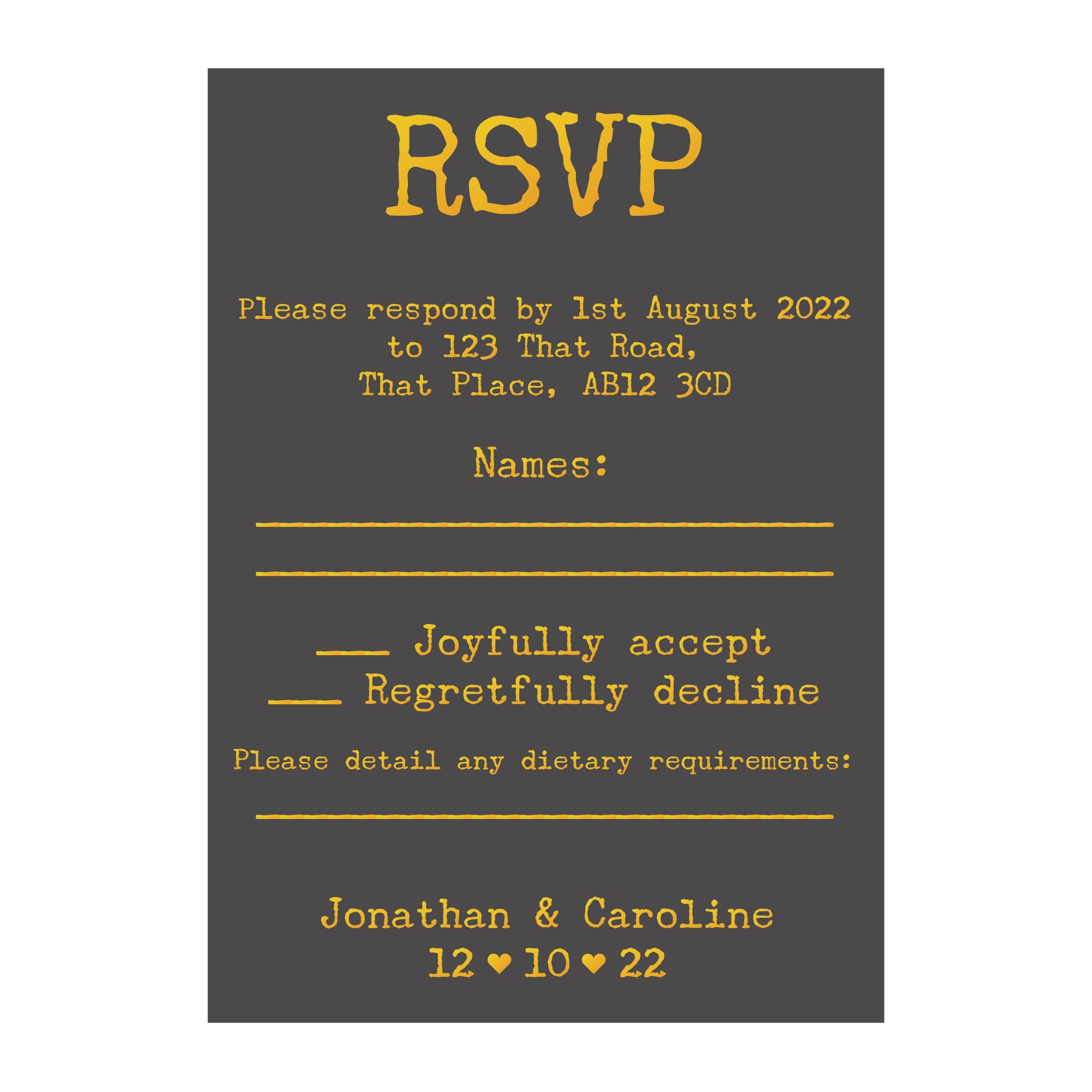 Grey with Gold Foil Rustic Typewriter Wedding RSVP Dietary Requirements Cards