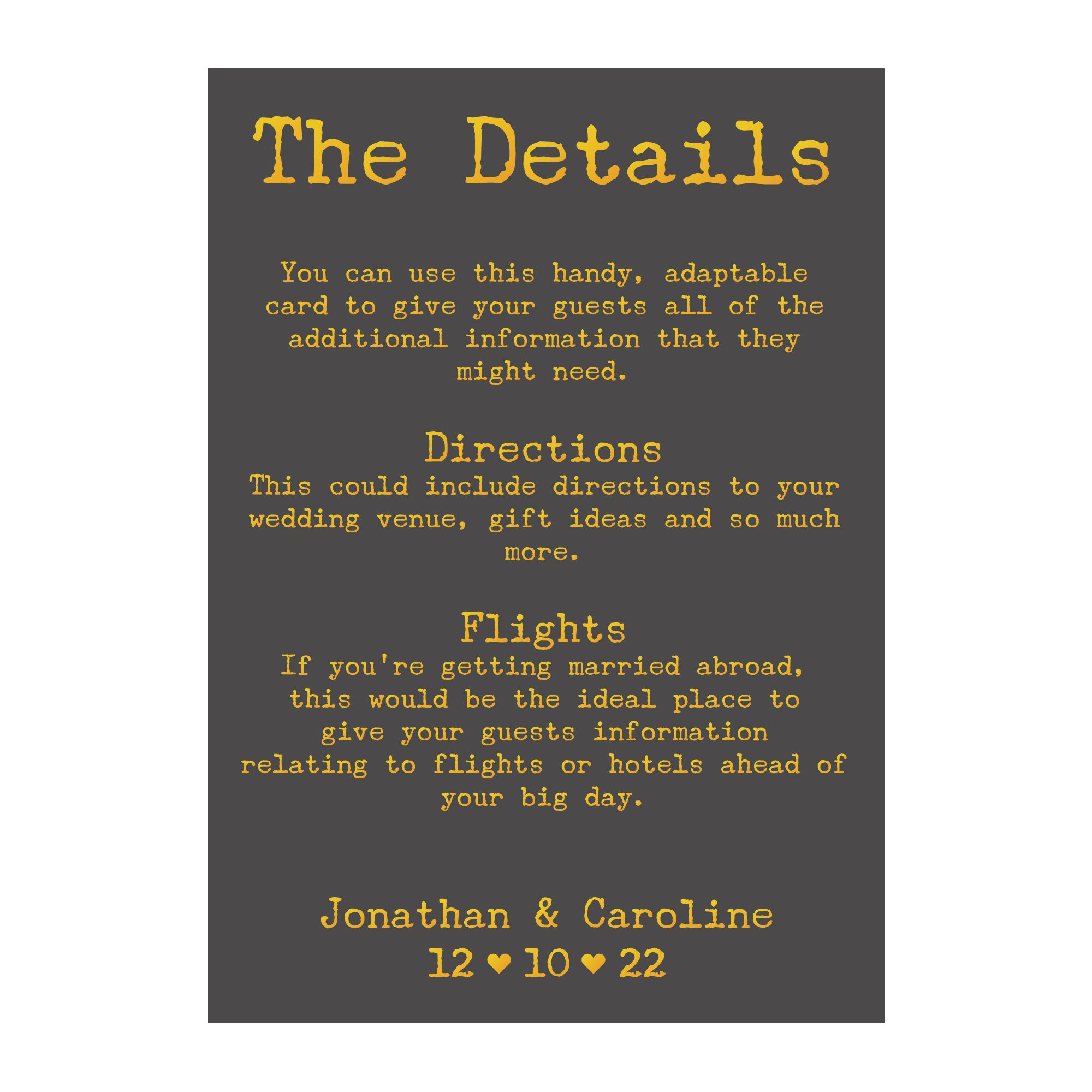 Grey with Gold Foil Rustic Typewriter Guest Information Cards