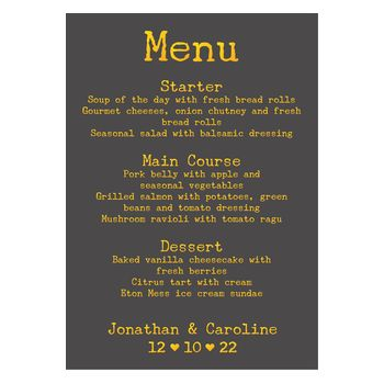Grey with Gold Foil Rustic Typewriter Wedding Menu Cards