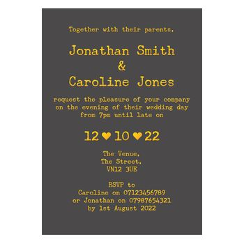 Grey with Gold Foil Rustic Typewriter Reception Invitations