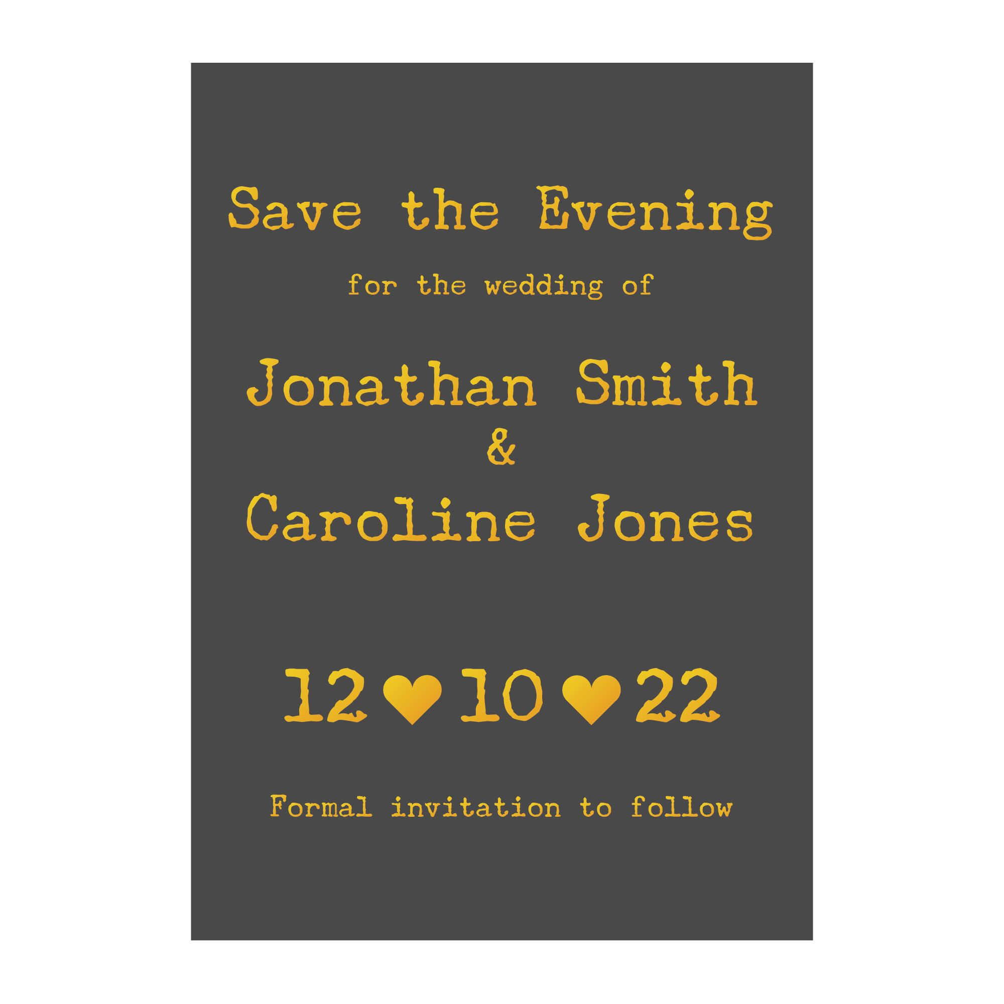 Grey with Gold Foil Rustic Typewriter Wedding Save the Evening Cards