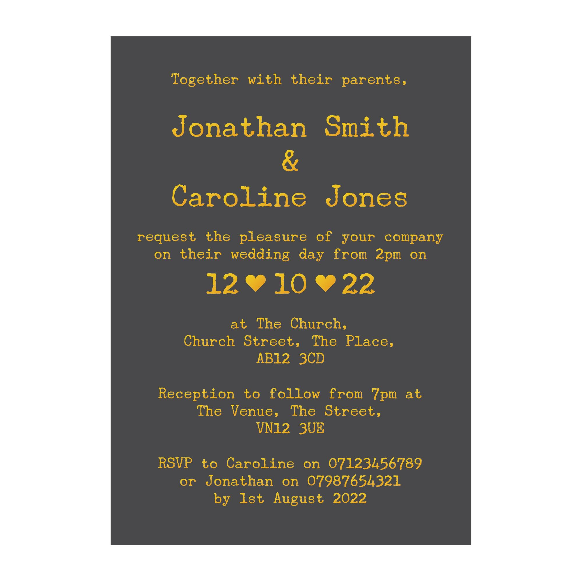 Grey with Gold Foil Rustic Typewriter Wedding Invitations
