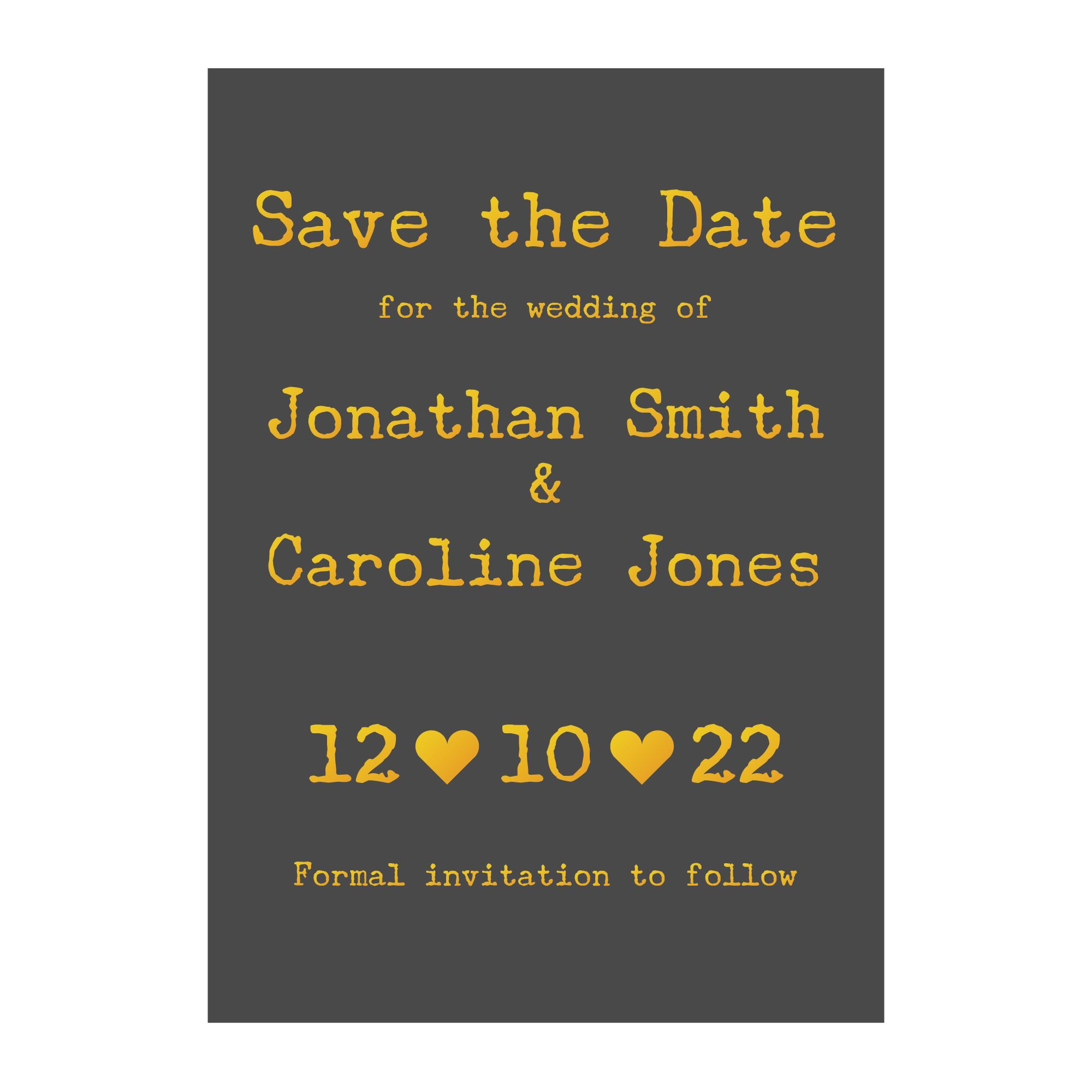 Grey with Gold Foil Rustic Typewriter Wedding Save the Date Cards