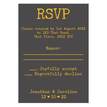 Grey with Gold Foil Rustic Typewriter Wedding RSVP Cards
