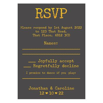 Grey with Gold Foil Rustic Typewriter Wedding RSVP Song Request Cards
