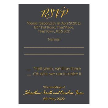 Grey with Gold Foil Funny Shit Just Got Real Wedding RSVP Cards