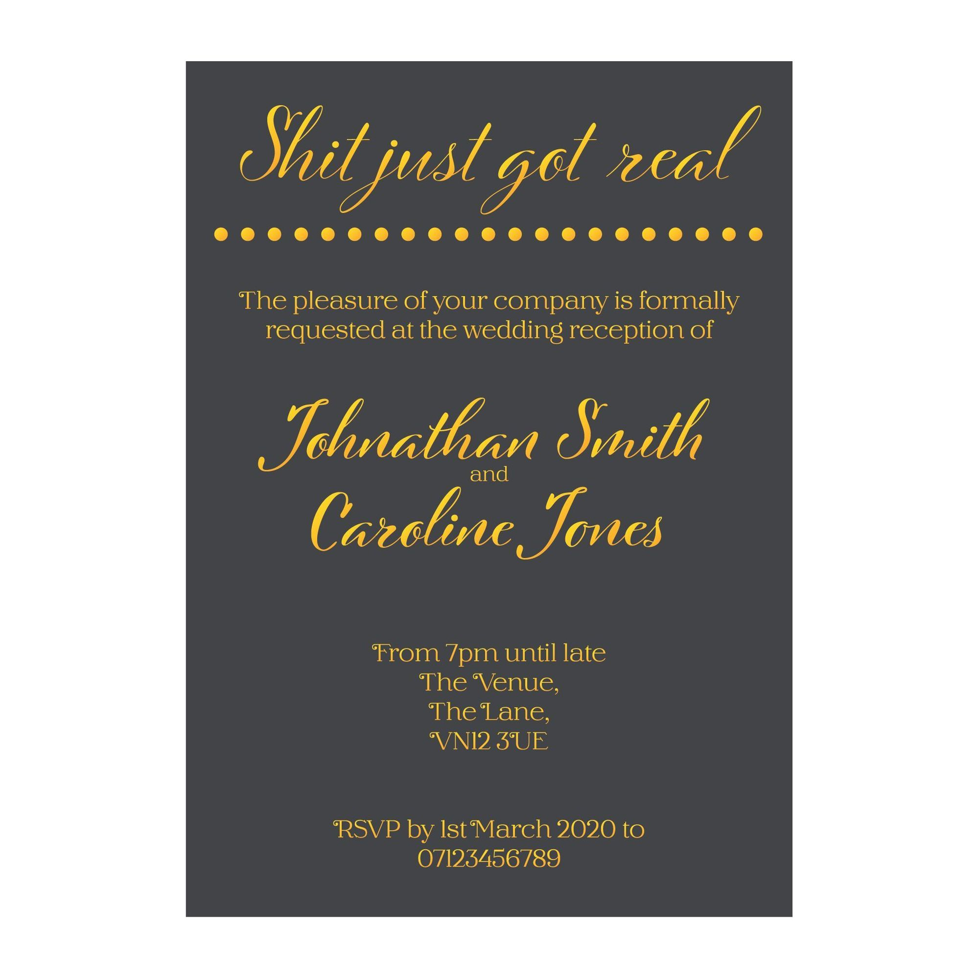 Grey with Gold Foil Shit Just Got Real Reception Invitations