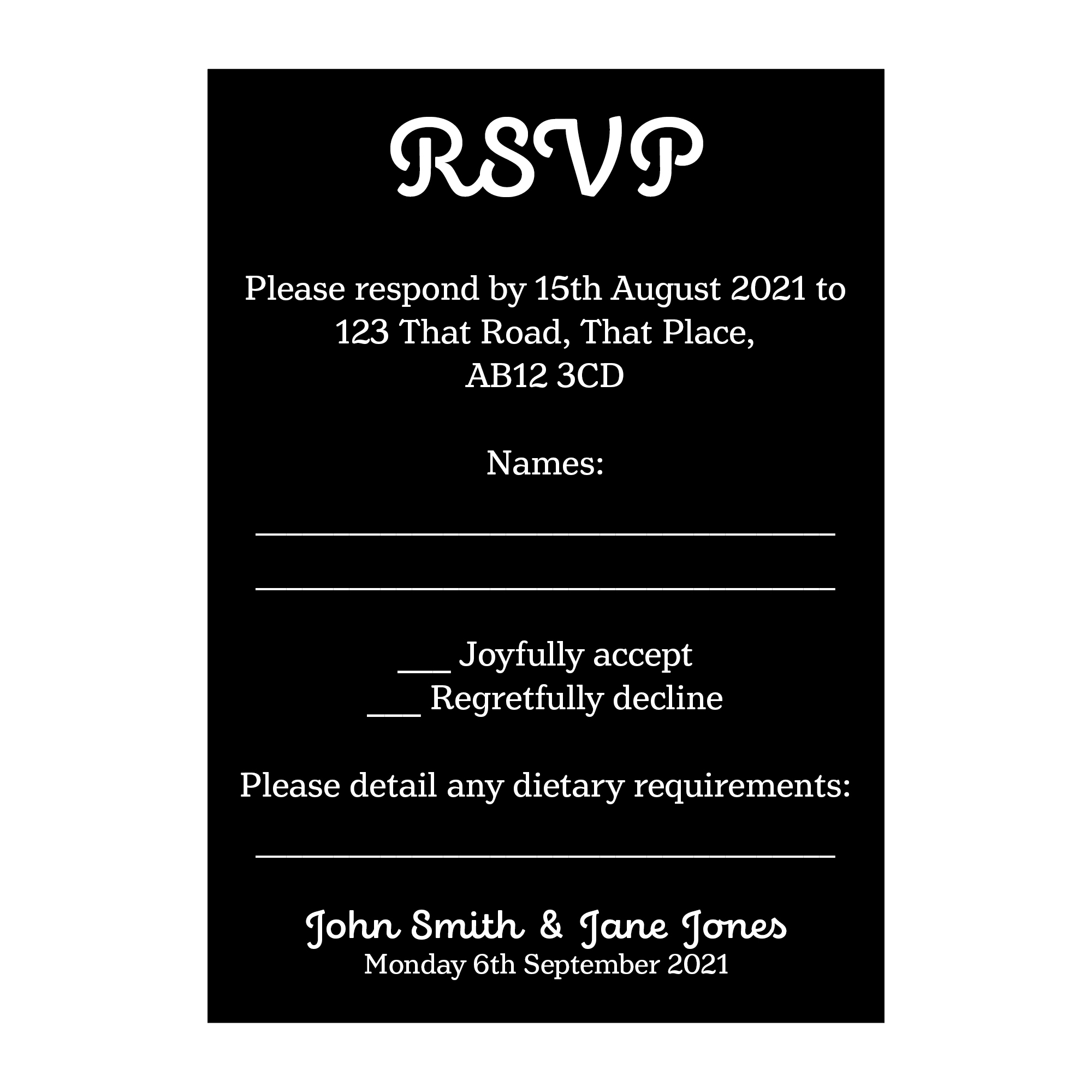 Black with White Ink Cute Calendar Wedding RSVP Dietary Requirement Cards