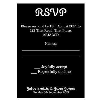 Black with White Ink Cute Calendar Wedding RSVP Cards