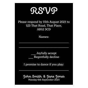 Black with White Ink Cute Calendar Wedding RSVP Song Request Cards