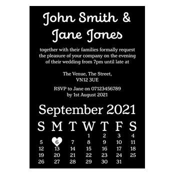 Black with White Ink Cute Calendar Reception Invitations