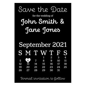 Black with White Ink Cute Calendar Save the Date Cards