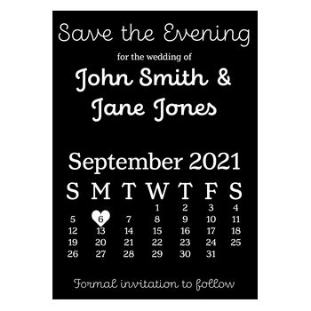 Black with White Ink Cute Calendar Save the Evening Cards