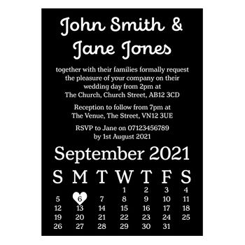 Black with White Ink Cute Calendar Wedding Invitations