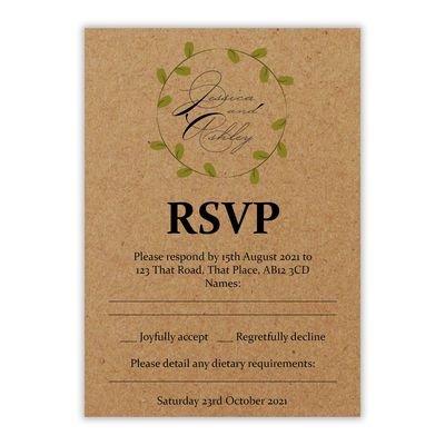 Recycled Brown Kraft Green Leaves Swirl Wedding RSVP Dietary Requirements Cards