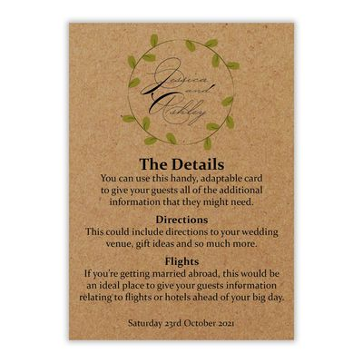 Recycled Brown Kraft Green Leaves Swirl Guest Information Cards
