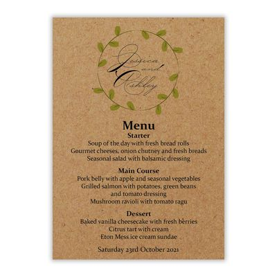 Recycled Brown Kraft Green Leaves Swirl Wedding Menu Cards